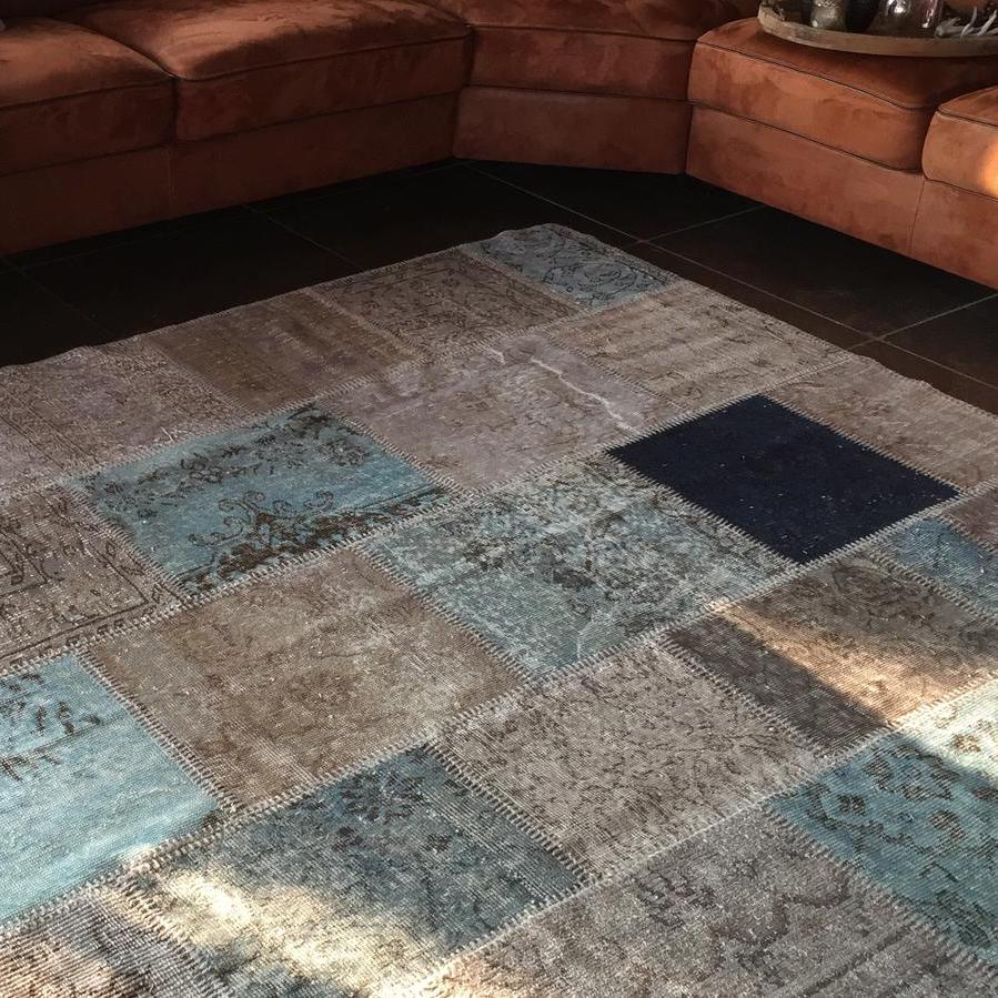 Living room Vintage patchwork rugtaupe, ice blue, gray, navy blue